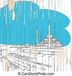 Istanbul drawing on wood
