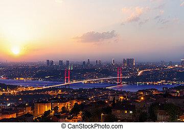 Istanbul evening skyline, view on the Bosphorus Bridge, Turkey