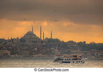Istanbul ferry sailing in the Sea and Bosphorus, Turkey