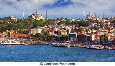 istanbul, från, galata torn, turkiet