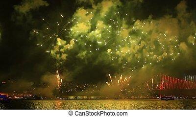 Istanbul, full of fireworks, smoke