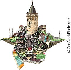 istanbul galata tower view - vector drawing istanbul galata...