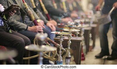 istanbul, gens, café, fumer, shisha, nargile