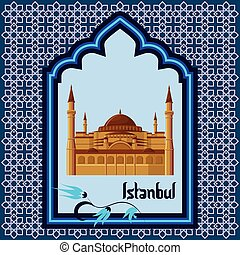 Istanbul greeting card template with hagia sophia in the arch style blue window