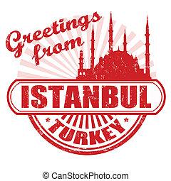 istanbul, hälsningar, stämpel