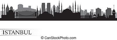 istanbul, horizon, ville, silhouette