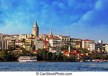 istanbul, hos, solnedgång, -, galata, område, turkiet