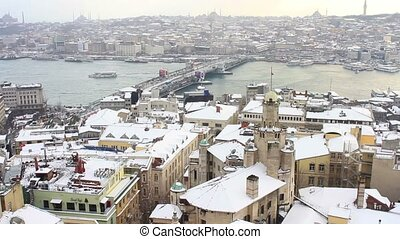 Istanbul in Winter - View from the tower on a snowy winter...