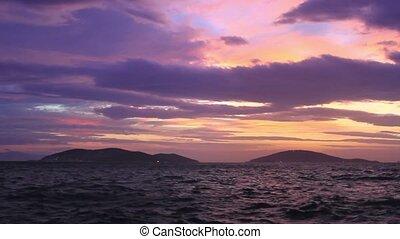 Istanbul Islands on sunset. Left to right Heybeli, Burgaz, Kinali Adalar