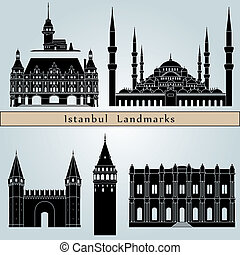 Istanbul landmarks and monuments isolated on blue background...