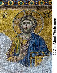 Christian mosaic icon of Jesus Christ