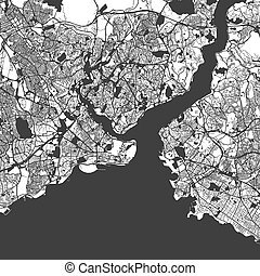 Istanbul Monochrome Map Artprint, Vector Outline Version, ready for color change, Separated On White