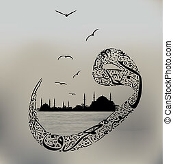 Istanbul mosque and arabic figure