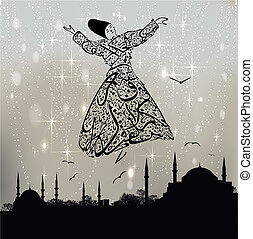 Istanbul mosque and dervish - Calligraphy dervish and...