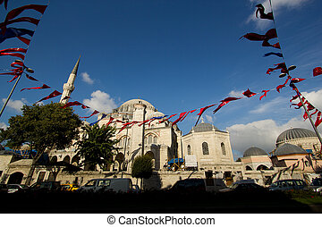 Istanbul mosque - decorated with turkish national flags for their independance day