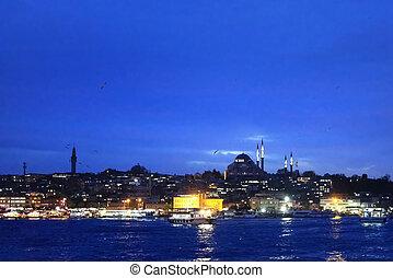 Istanbul night in blue