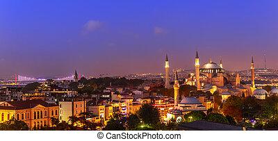 Istanbul night panorama, view on the Hagia Sophia Museum and the Bosphorus bridge, Turkey