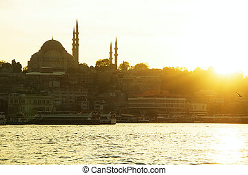 Istanbul old city panorama with mosque at sunset