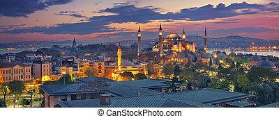Istanbul Panorama. - Panoramic image of Hagia Sophia in...
