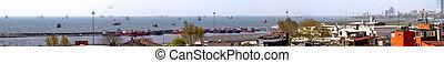 istanbul., panorama., schiffe, ar, auf, der, straßen, in, der, gelbes meer
