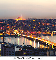 Istanbul panoramic view at night.