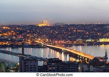 Istanbul panoramic view at night.