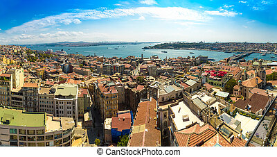 Istanbul panoramic view from Galata tower. Turkey -...