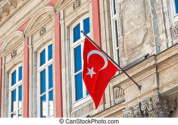 istanbul flag in building close up