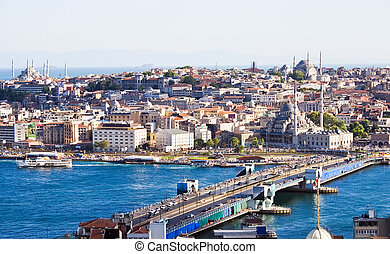 Istanbul - View from Galata tower to Golden Horn, Istanbul,...