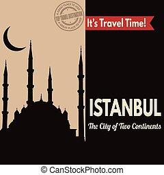 Istanbul, retro touristic poster