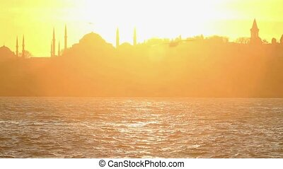 Istanbul, Sarayburnu. In the distance are such landmarks as...