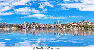 Istanbul sea panorama on the bank of the Bosphorus Straight, Turkey