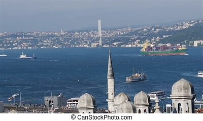 Istanbul. Sea traffic in Bosphorus strait