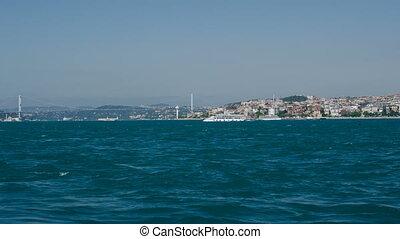 Istanbul. Sea traffic in Bosphorus strait.