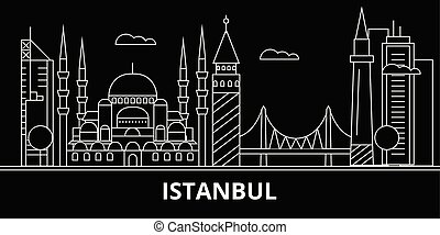Istanbul silhouette skyline. Turkey - Istanbul vector city, turkish linear architecture, buildings. Istanbul travel illustration, outline landmarks. Turkey flat icons, turkish line banner