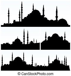 istanbul silhouettes - vector set of istanbul silhouettes