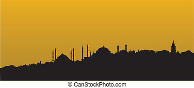 istanbul skyline by night with the mosque