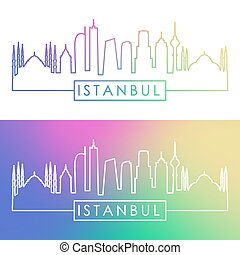 Istanbul skyline. Colorful linear style.