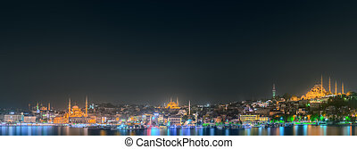 Istanbul skyline from Galata bridge by night