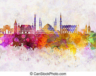 Istanbul skyline in watercolor