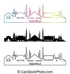 Istanbul skyline linear style with rainbow.eps