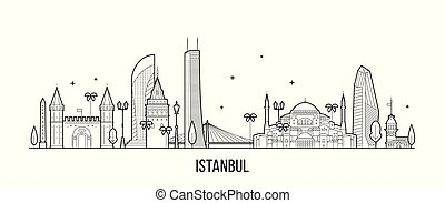 Istanbul skyline, Turkey. This illustration represents the city with its most notable buildings. Vector is fully editable, every object is holistic and movable