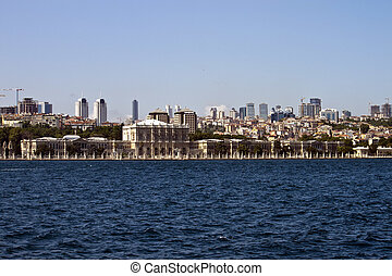 Istanbul skyline with Dolmabahce palace, Turkey
