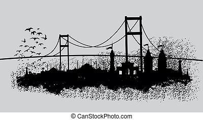 istanbul, storstad, vektor, konst