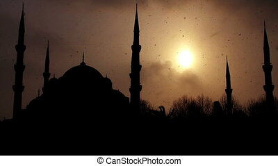 istanbul sultan ahmet mosque in winter