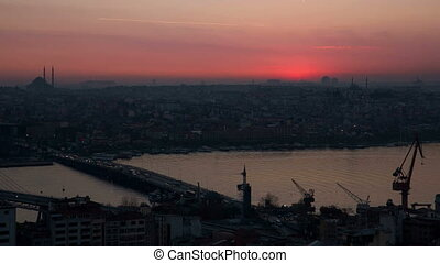 Istanbul Sunset - Istanbul at Sunset with cranes and canal,...