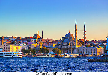 Istanbul sunset panorama - Turkey travel background