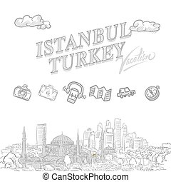 Istanbul travel marketing cover, set of hand drawn a vector...