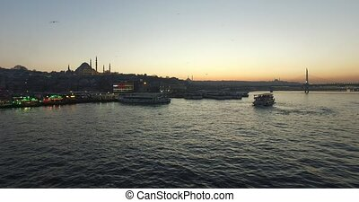 ISTANBUL, TURKEY - 31 MARCH 2016: Evening Golden Horn Bay near Galata Bridge: March 31, 2016 in Istanbul, Turkey