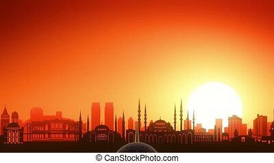 Istanbul Turkey Airplane Take Off Skyline Golden Background